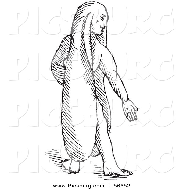 Clip Art of a Fantasy Rabbit Eared Man Creature - Black and White Line Drawing