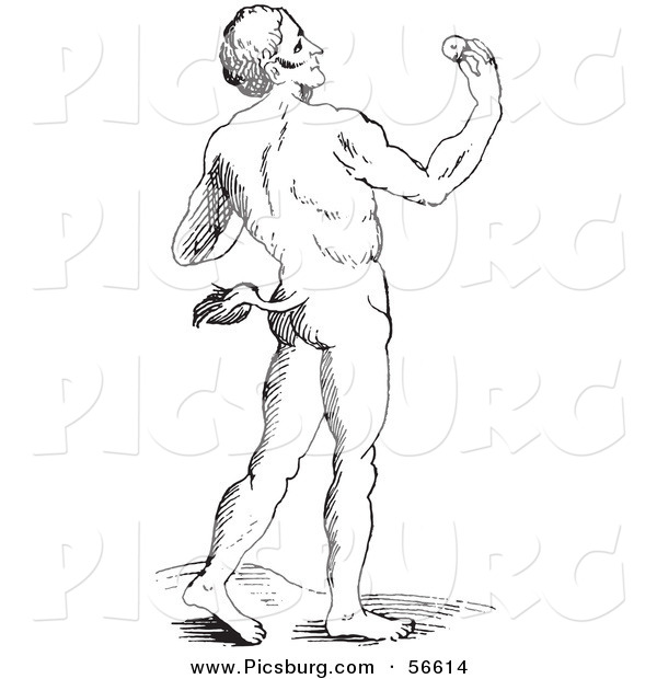Clip Art of a Fantasy Tailed Man Creature - Black and White
