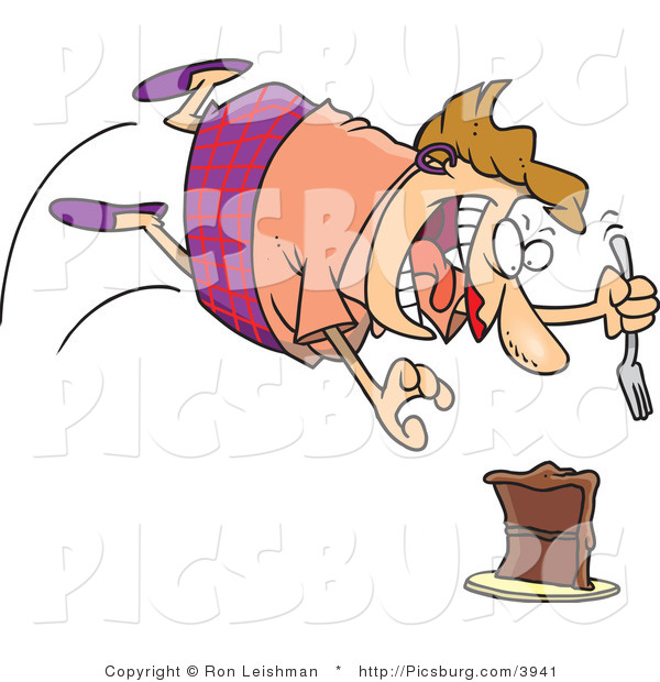 Clip Art of a Fat Caucasian Woman Diving Towards a Chocolate Cake with a Fork