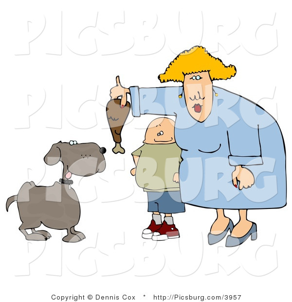 Clip Art of a Fat Son Watching Mom Feed a Brown Pet Dog a Turkey Leg