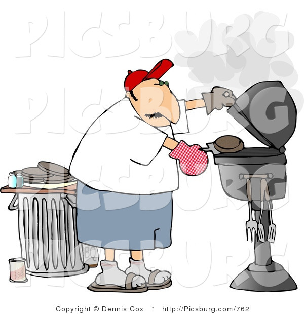 Clip Art of a Father Putting a Hamburger on a Barbecue (BBQ) Grill