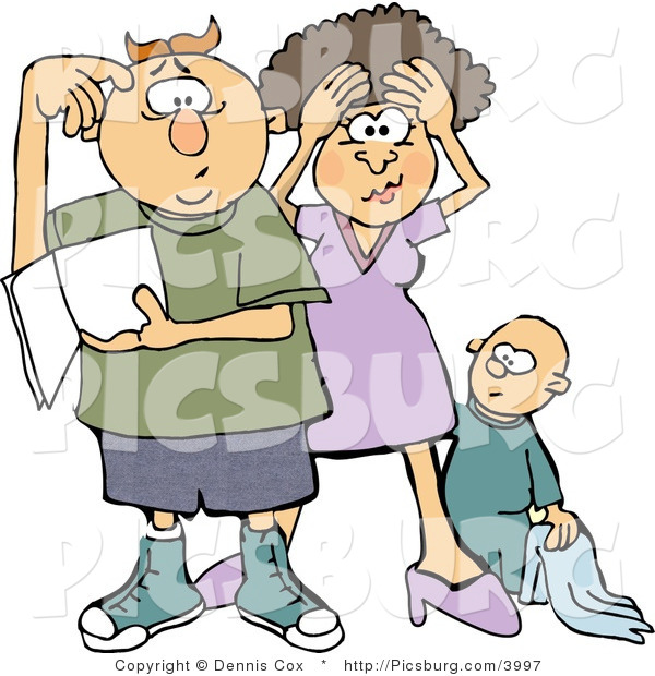 Clip Art of a Frustrated New Mother and Dad Trying to Figure out How to Raise a Baby Boy - Parenting Humor