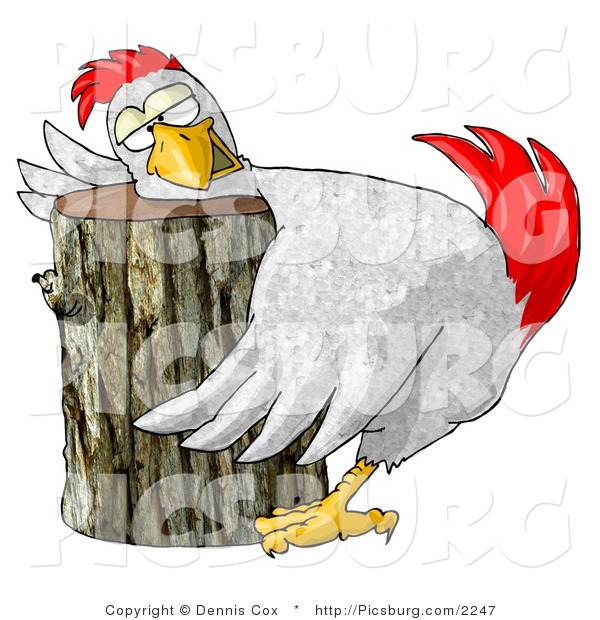 Clip Art of a Funny White Chicken on a Wood Chopping Block