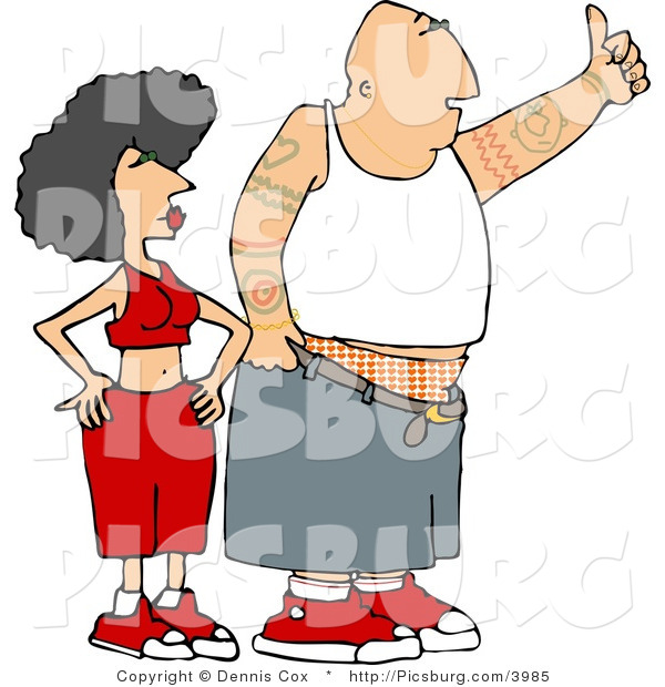 Clip Art of a Gangster Man with Arm Tattoos and His Woman Hitchhiking