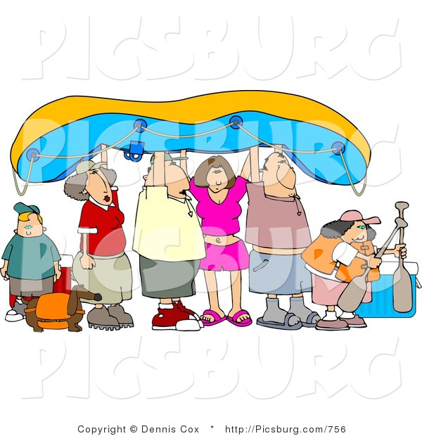 Clip Art of a Gathering of Friends and Family Going River Rafting