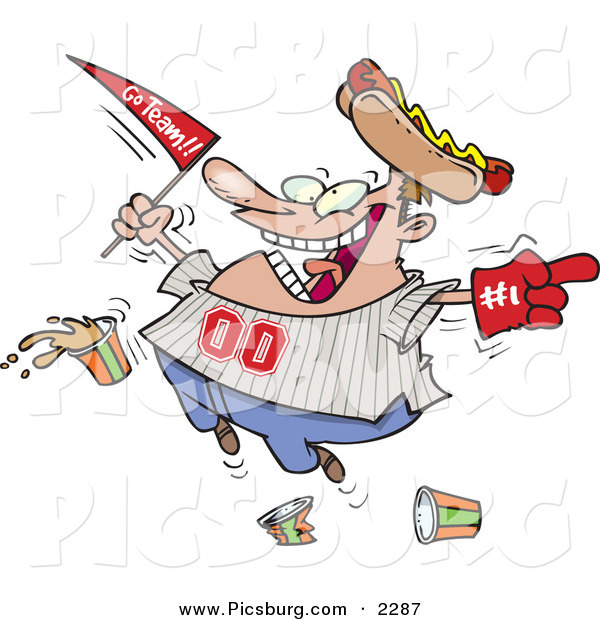 Clip Art of a Grinning Male Baseball Fan with a Hot Dog Hat, Flag, Hand and Drinks