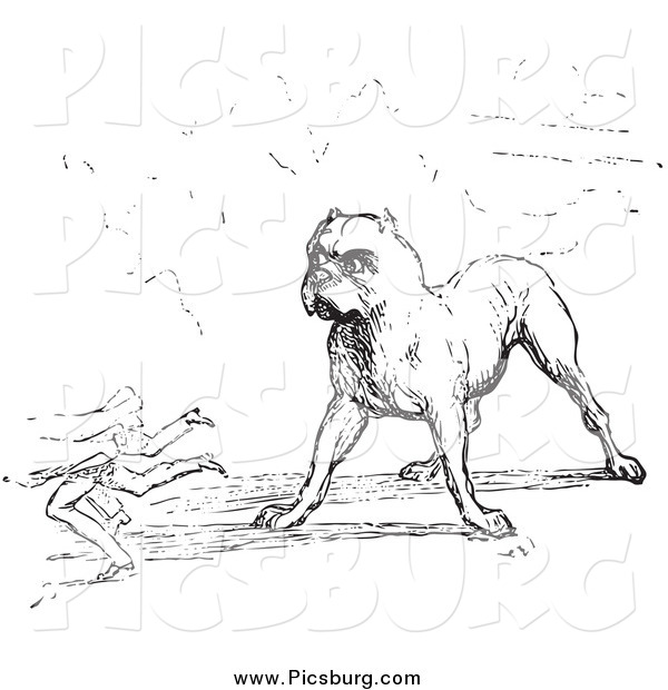 Clip Art of a Guard Dog in Black and White