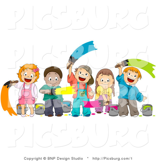 Clip Art of a Happy Group of Diverse Kids Painting with Paint Brushes
