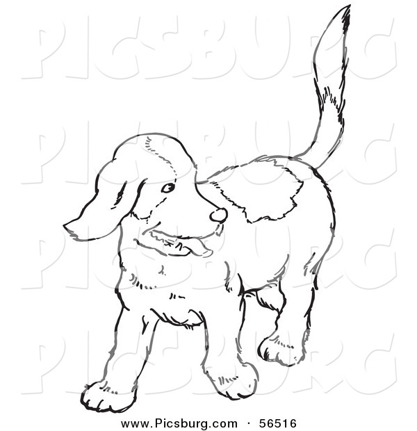 Clip Art of a Happy Puppy Dog Looking Back - Black and White Line Art