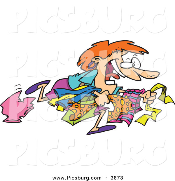 Clip Art of a Happy White Woman Running to Get the Best Bargains While Christmas Shopping