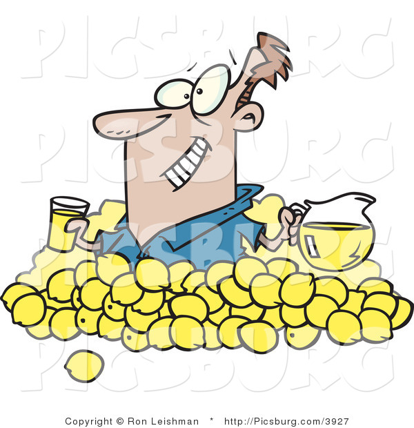 Clip Art of a Happy Widely-Grinning Man with Lemons, Pitcher of Lemonade and a Glass of Juice