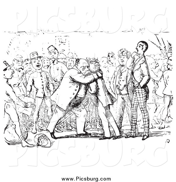 Clip Art of a Historic Scene of Men Hugging in Black and White