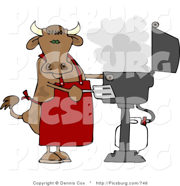 Clip Art of a Horned Cow Cooking BBQ on an Outdoor Propane Grill
