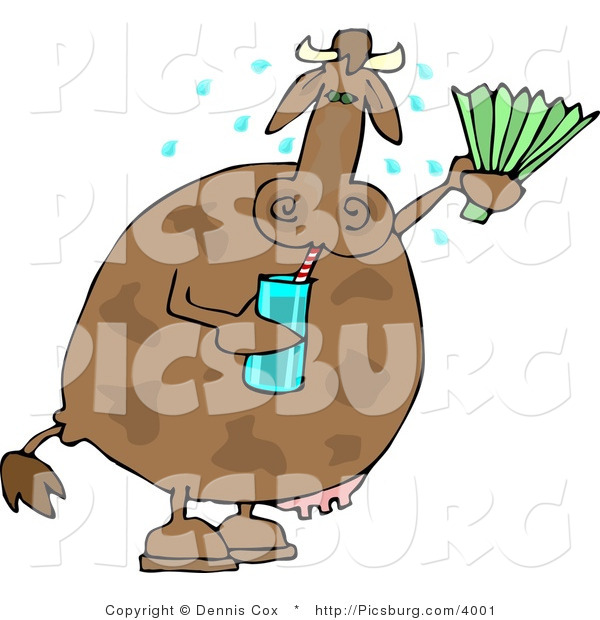 Clip Art of a Hot Cow Drinking Water and Using a Foldable-Fan to Cool Himself
