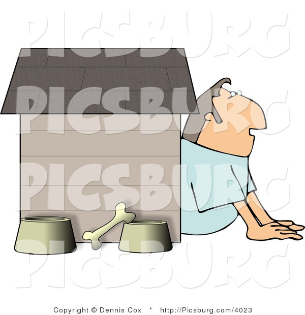 Clip Art of a Husband in Trouble with His Wife, Hiding Inside a Doghouse with a Bone and Food & Water Bowls
