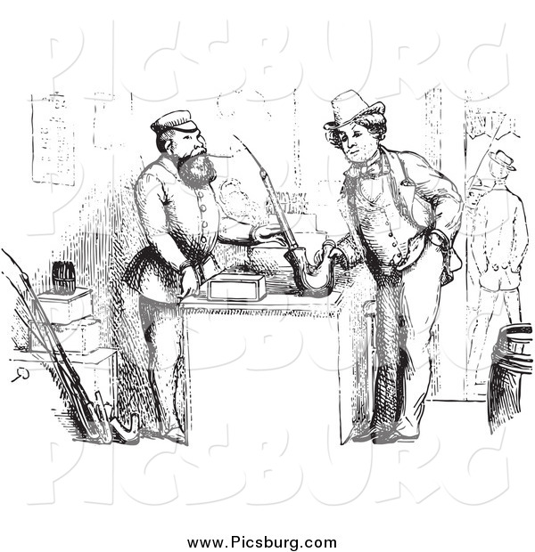 Clip Art of a Intage Man Buying a German Pipe in Black and White