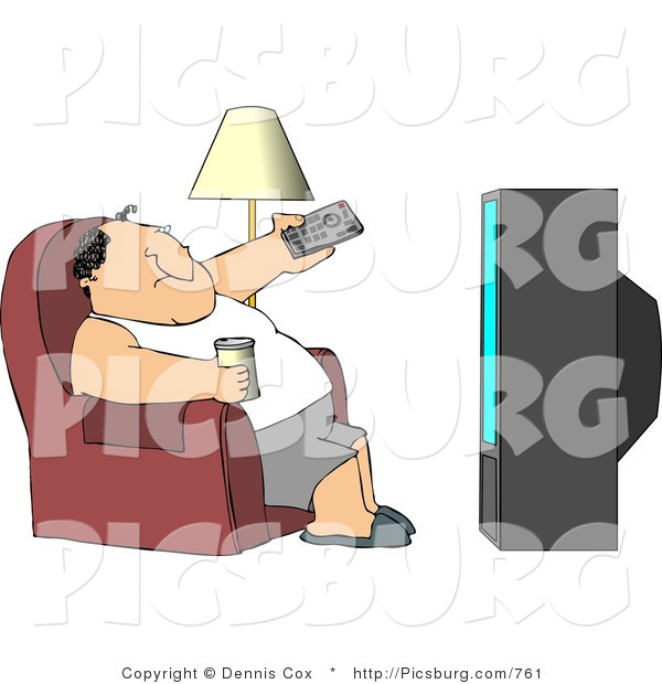 Clip Art of a Lazy Fat Male Sitting on a Couch, Channel Surfing the TV, and Drinking Beer