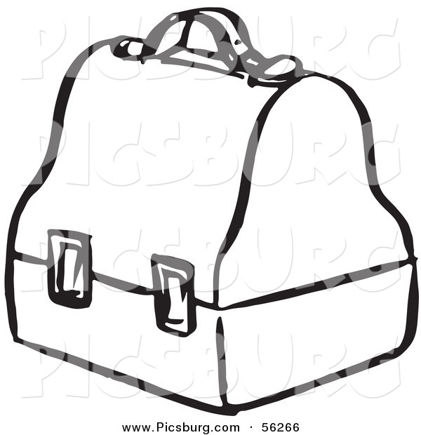Clip Art of a Lunch Box - Black and White Line Art