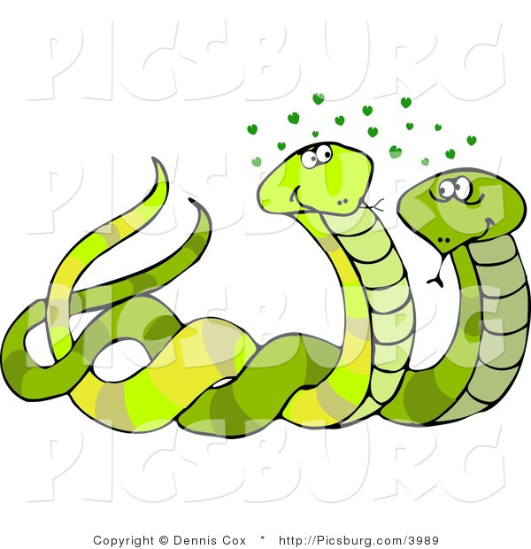 Clip Art of a Male and Female Snakes Mating with Green Hearts over Their Head
