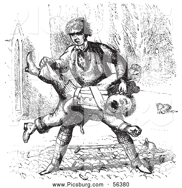 Clip Art of a Man Beating up a Guard in Black and White