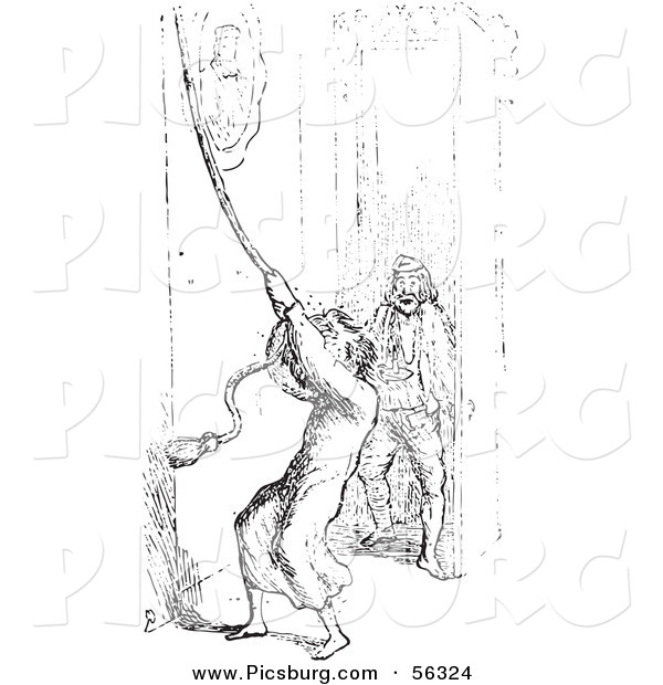 Clip Art of a Man Ringing a Bell for Help with Mosquitoes - Black and White Version 2