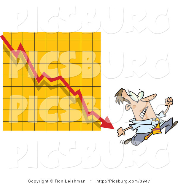 Clip Art of a Man Running from a Bar on a Declining Red Graph