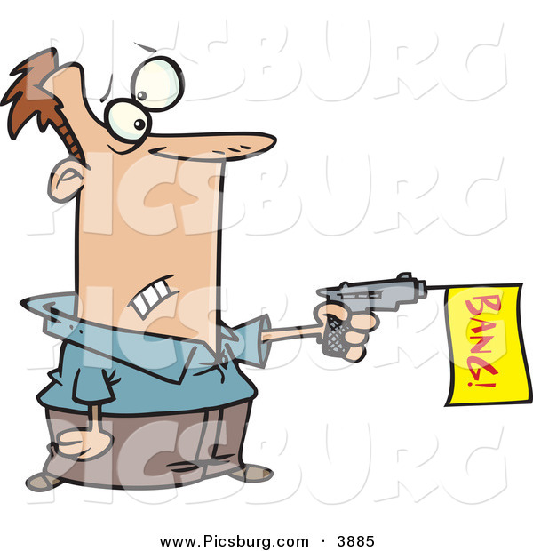 Clip Art of a Man Shooting a Dud Gun with a Yellow Bang Flag in Shooting out