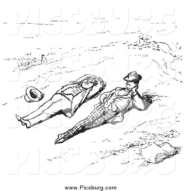 Clip Art of a Men Relaxing Outdoors, in Black and White