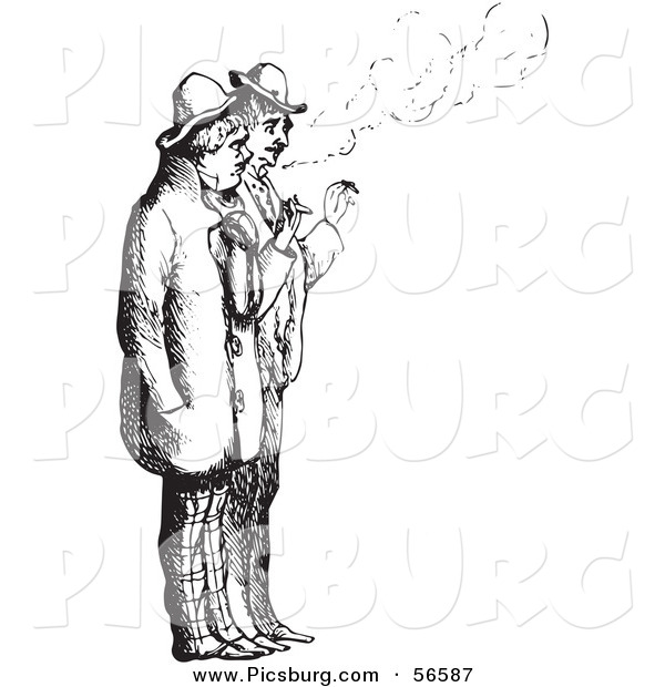 Clip Art of a Men Smoking Cigarettes - Black and White