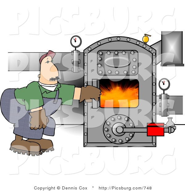 Clip Art of a Middle Aged Man Opening the Door of a Hot Boiler with Valves