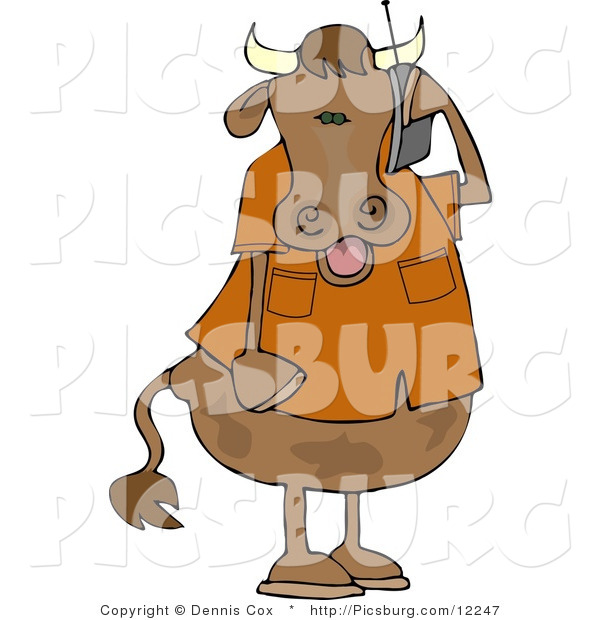 Clip Art of a Modern Human-like Male Cow Talking on a Cellular Telephone