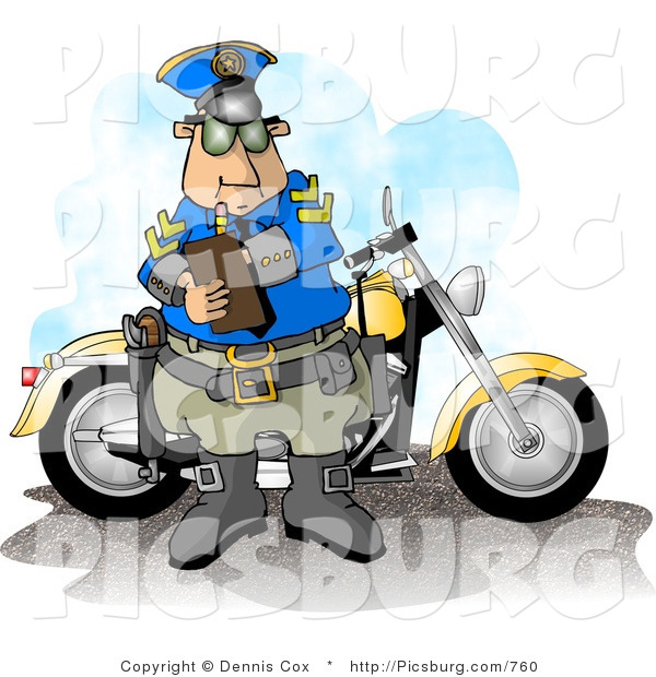 Clip Art of a Motorcycle Cop Filling out a Traffic Citation/Ticket Form by His Bike