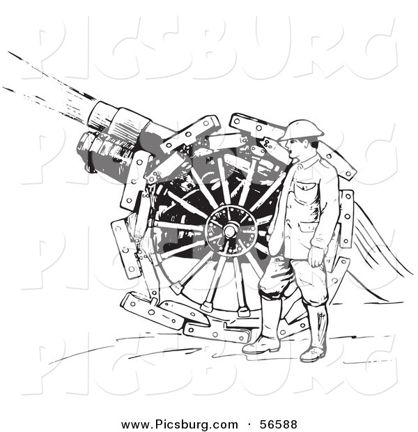 Clip Art of a Navy Soldier Shooting Siege Gun - Black and White