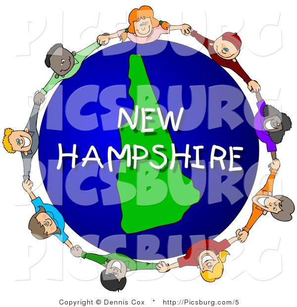 Clip Art of a New Hampshire Globe and People Holding Hands