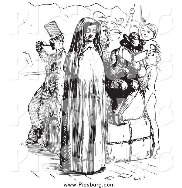 Clip Art of a Nun and People on a Boat in Black and White