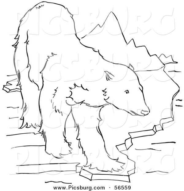Clip Art of a Polar Bear Standing on an Ice Ledge near Mountains - Black and White Line Art