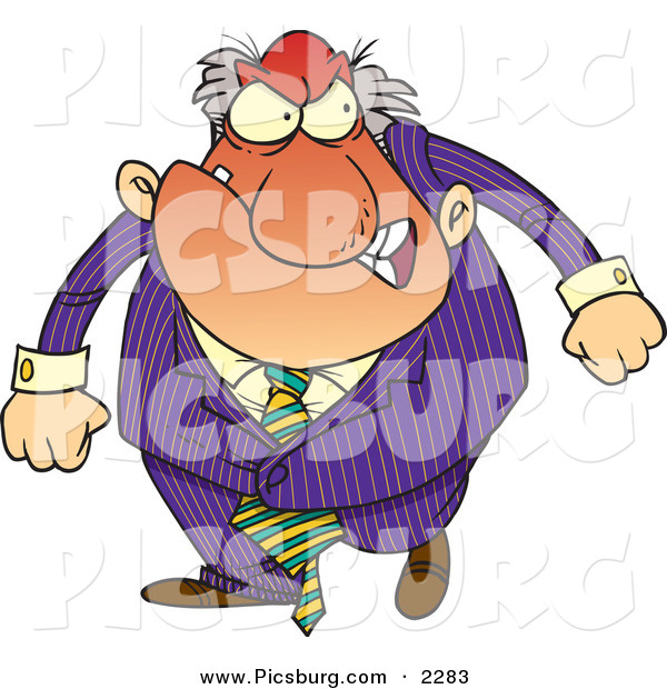 Clip Art of a Red and Mad Boss Man in Purple Gritting His Teeth