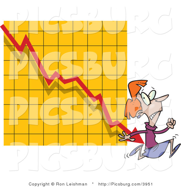 Clip Art of a Red Headed Afraid Woman Running from a Bar on a Declining Graph