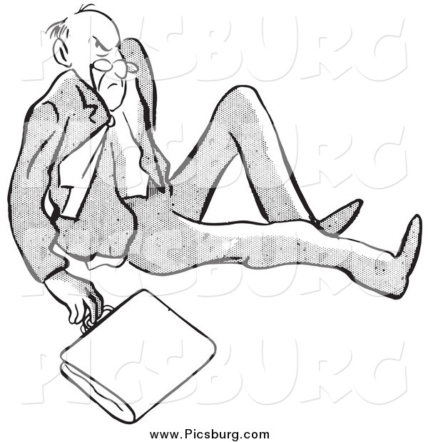 Clip Art of a Retro Black and White Angry Man After Falling