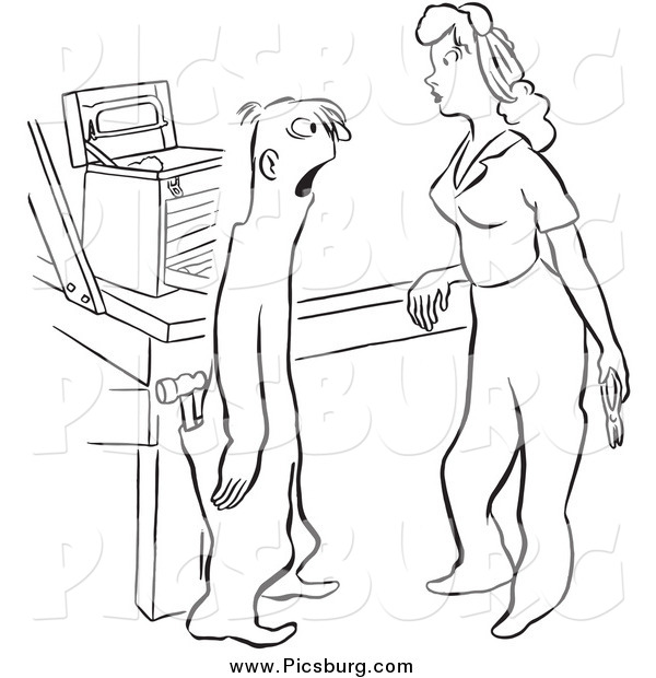 Clip Art of a Retro Dumb Worker Man and Attractive Woman with Tools Black and White