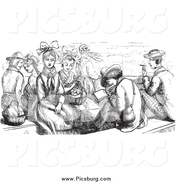 Clip Art of a Retro Group of People Sitting on a Boat in Black and White