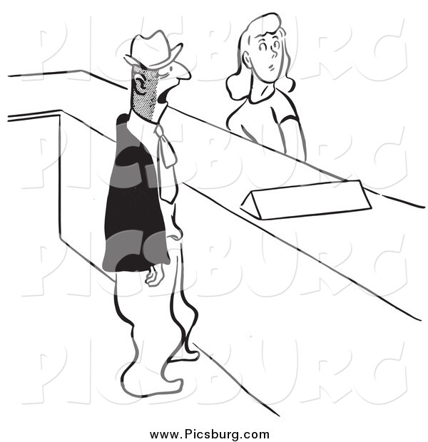 Clip Art of a Retro Man and Woman at a Help Desk Black and White