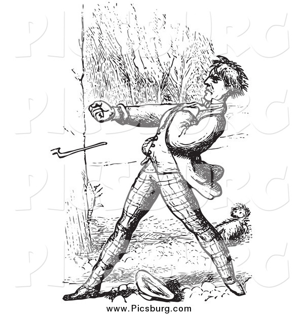 Clip Art of a Retro Man Defending a Dog in Black and White