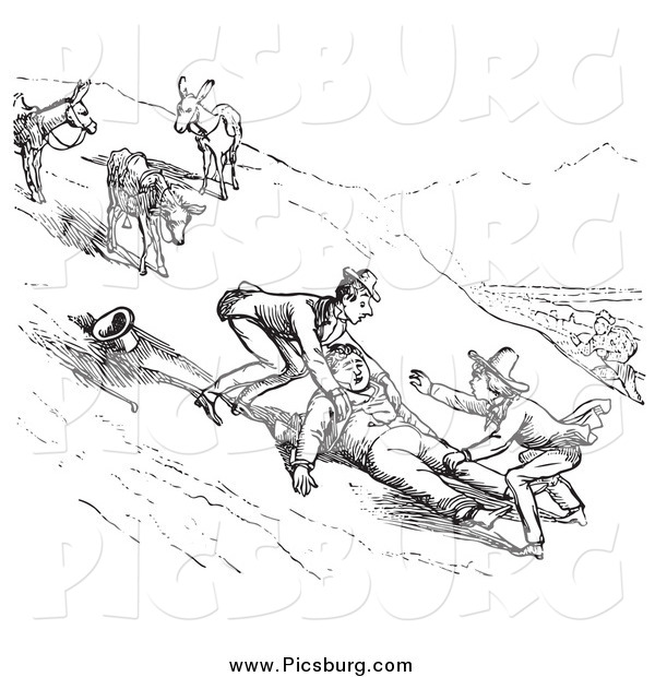 Clip Art of a Retro Man Falling off a Donkey on a Hillside, in Black and White
