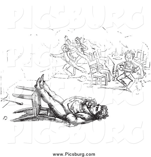 Clip Art of a Retro Man Sleeping in a Toppled Chair in Black and White