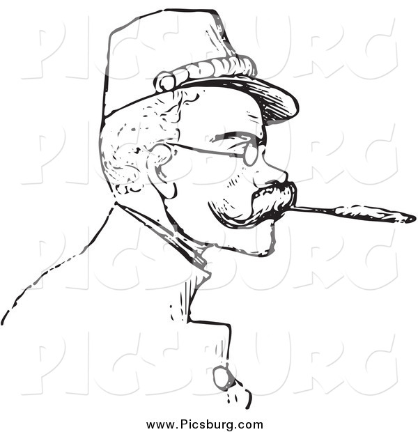 Clip Art of a Retro Man Smoking a Cigarette with a Filter