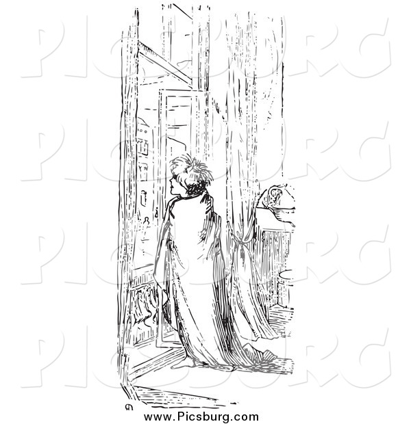 Clip Art of a Retro Man Wrapped in a Blanket at a Window in Black and White