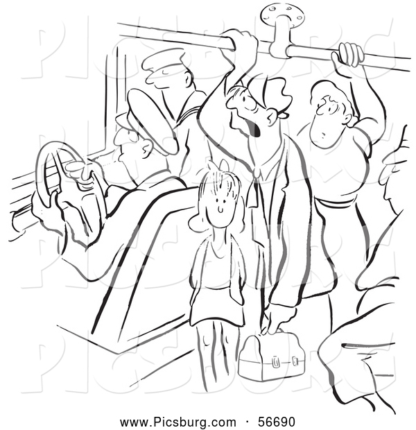 Clip Art of a Retro Vintage Coloring Page Outline of Many People on a Crowded Bus Black and White