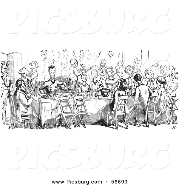 Clip Art of a Retro Vintage Crowd Dining in a Black and White Outline