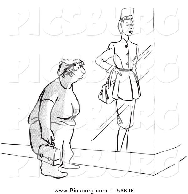 Clip Art of a Retro Vintage Frumpy Worker Woman Viewing a Store Display Model Black and White